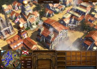 Age of Empires III - A player-designed Imperial Age town, sitting safely behind several defensive walls (see miniature map, lower left corner).  Includes a factory (center).