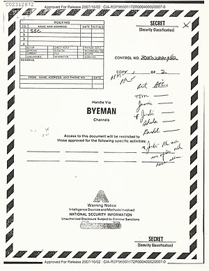 Classified information in the United States - Cover sheet for information protected by the BYEMAN control system