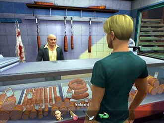 """Broken Sword: The Angel of Death - George in a salami store in the meat packing factory. The bottom of the screen displays """"subject icons"""" which command George what to talk about."""