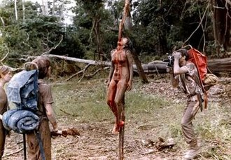 Cannibal Holocaust - The film's impalement scene was one of several scenes examined by the courts to determine whether the violence depicted was staged or genuine.