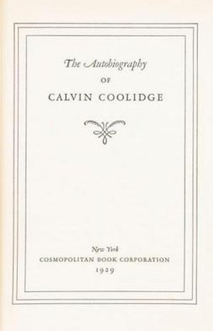 The Autobiography of Calvin Coolidge - Title page, first edition