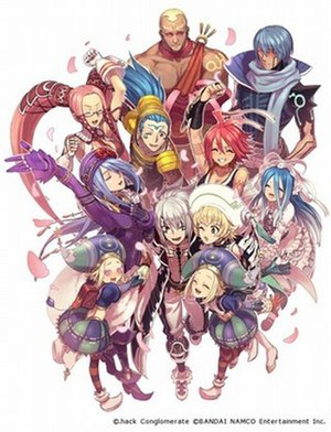 .hack//G.U. - The main characters of the series: (left to right) Endrance, Ovan, Atoli, Yata, Haseo, Pi (above), Bo and Saku, and Kuhn