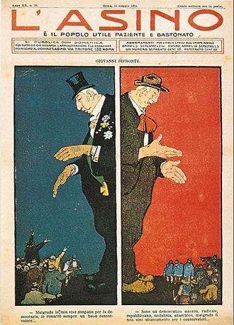 1904 in Italy - This cartoon in the satirical magazine L'Asino (The Donkey) in May 1911, described the policy of Giolitti: on the one hand, dressed in elegant suit, he reassures conservatives; on the other, with clothes less elegant, he is addressing the workers. (L'Asino, May 14, 1911)