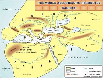 History of cartography - The world according to Herodotus, 440 BC