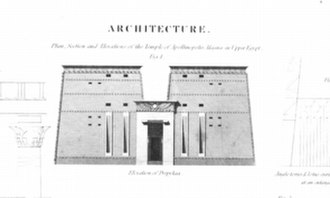 "William Hosking - An illustration of a small Egyptian temple, from Hosking's chapter on ""Architecture"" in the Encyclopædia Britannica (offprint pub. 1832). Hosking was later chosen by the founders of Abney Park Cemetery to design a pair of similar temple lodges for its front entrance."