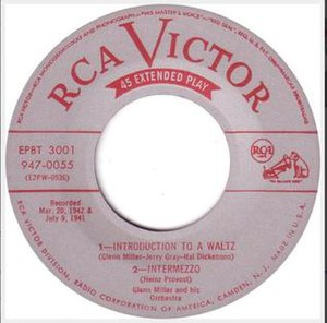 "Introduction to a Waltz - ""Introduction to a Waltz"" as part of a 1952 RCA Victor 45 EP, EPBT 3001."