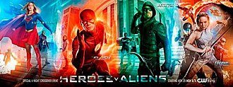"Invasion! (Arrowverse) - Tetraptych promotional poster for ""Invasion!"""