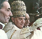 Pope John XXIII blesses the crowds after his coronation in 1958. He is wearing the 1877 tiara.