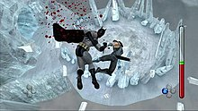 Two characters fall from a tall building, one punching the other in the process. In the background other skyscrapers can be seen, as well as some light clouds.