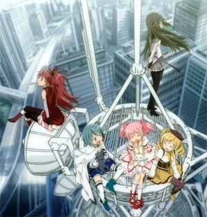 Puella Magi Madoka Magica - From left to right: Kyoko Sakura, Sayaka Miki, Madoka Kaname, Kyubey (in lap), Homura Akemi (standing), and Mami Tomoe