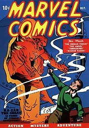 Marvel Comics #1, featuring the Human Torch. Art by Frank R. Paul.