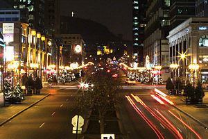 Downtown Montreal - A view of McGill College Avenue in December