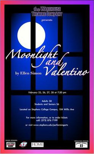 Warehouse Theatre (Stephens) - Poster for Moonlight and Valentino. Designed by Emily Shackelford
