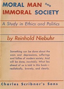 "The words ""MORAL MAN AND IMMORAL SOCIETY"" in alternating red and blue above the words ""A Study in Ethics and Politics"" in blue above the words ""by Reinhold Niebuhr"" in red"