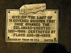 Portland–Columbia Pedestrian Bridge - This plaque was placed on the Portland side of the bridge to commemorate the covered bridge destroyed by the remnants of Hurricane Diane in August 1955.