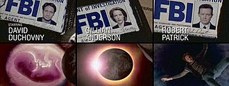 The X-Files (season 8) - The new opening sequence for season eight, featuring Robert Patrick, as well as images alluding to Scully's pregnancy (lower left) and Mulder's disappearance (lower right).