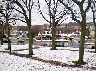 Powder House Square - Overlooking Powder House Square from the hill at Nathan Tufts Park. Tufts University is in the background.