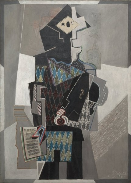 Pablo Picasso, 1918, Arlequin au violon (Harlequin with Violin), oil on canvas, 142 x 100.3 cm, The Cleveland Museum of Art, Ohio.jpeg