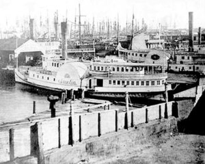 Barbary Coast, San Francisco -  The shipping docks of Buena Vista Cove at the east end of Pacific Street during the 1860s.  (San Francisco History Center, San Francisco Public Library)