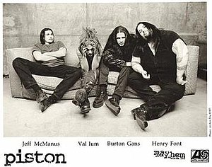 Pist.On - Pist.On, 1997.  L-R: Jeff McManus, Val Ium, Burton Gans, and Henry Font.
