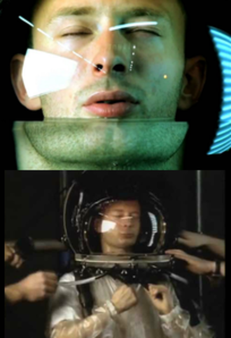No Surprises - Yorke, in the music video (left) and filming the music video (right)