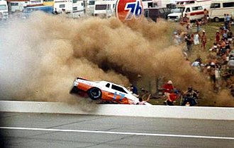 1979 Gabriel 400 - Roger Hamby's vehicle (driven by Steve Pfeiffer) crashes while racing at the 1979 Gabriel 400.