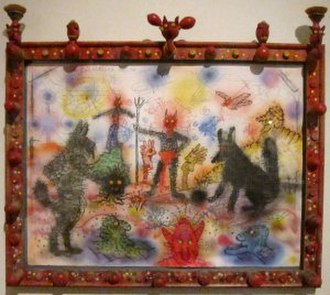 Roy De Forest - Untitled (Devils/Dogs) by Roy De Forest, 1989–90, acrylic, pastel and charcoal on paper in artist's frame, Honolulu Museum of Art