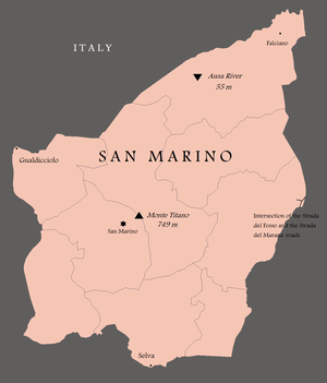 Extreme points of San Marino - Map showing San Marino's extreme points