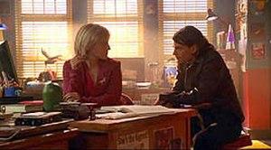 Mister Mxyzptlk - Trent Ford (right) as Mikhail Mxyzptlk with Chloe Sullivan (Allison Mack) in Smallville Season 4 episode Jinx.