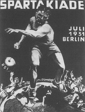 Red Sport International - Poster of the 2nd International Spartakiad of the Sportintern, held in Berlin in the Summer of 1931.