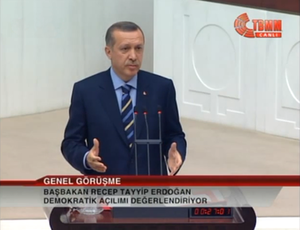 Democratic initiative - Erdoğan addresses the members of parliament during a heated debate at the Turkish Parliament about democracy and the democratic initiative.