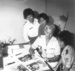 Tan Son Nhut Air Base - VNAF Women's Armed Forces Corps (WAFC) personnel with USAF Captain Mary A. Marsh, June 1968. Captain Marsh would eventually retire as a USAF Brigadier General on 1 May 1986. General Marsh was the first Air Force woman assigned as an adviser to the Vietnamese air force.