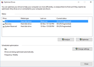 Disk Defragmenter (Windows) - Image: Windows Disk Defragmenter