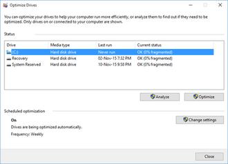 Disk Defragmenter (Windows) - Image: Windows Disk Defragmenter