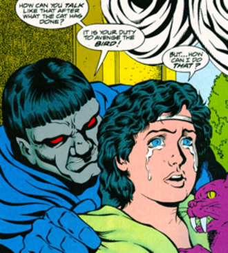 Desaad - Darkseid with a young DeSaad. Art by Colleen Doran.