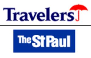 The Travelers Companies - Top: The familiar umbrella logo of the Travelers, used until its spinoff from Citigroup. Bottom: The logo that The St. Paul used prior to the merger with Travelers.