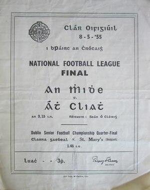 1954–55 National Football League (Ireland) - Image: 1955 National Football League Final GAA Programme