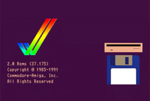 Kickstart (Amiga) - The default boot screen displayed under Kickstart 2.0, requesting the user to insert a boot disk