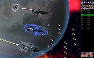 Armada 2526 - A squad of Dreadnought ships covers a landing zone