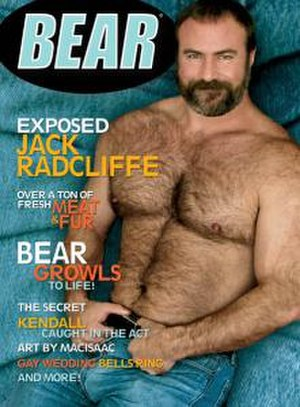 Bear Magazine - Jack Radcliffe on the cover of Bear Magazine (Issue No. 65, September 2008.)