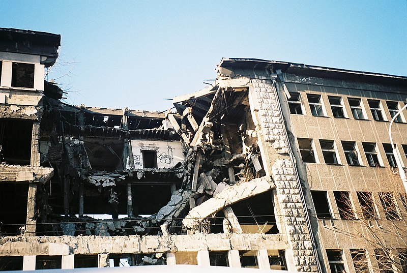 File:Bomb damage on Kneza Milosa, Belgrade.jpg