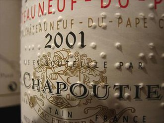 Chapoutier - A Chapoutier Châteauneuf-du-Pape wine label with braille.