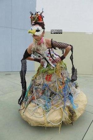 Marina DeBris - Dress made by Marina DeBris, from trash found on the beach.
