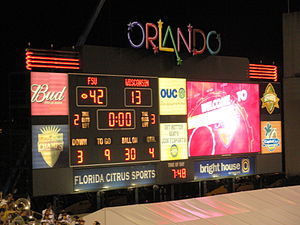 Camping World Bowl - The final score of the 2008 Champs Sports Bowl that hosted the Florida State Seminoles and the Wisconsin Badgers.