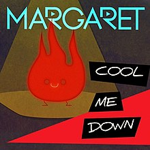 "An orange flame in a spotlight with Margaret's logo on top, and ""Cool Me Down"" written in capitals in bottom-right corner."