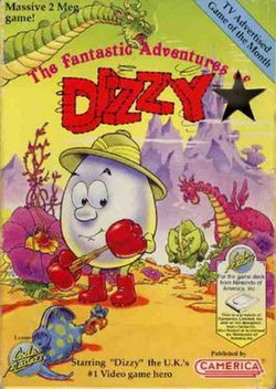 US Cover art. The art was first used for the UK release of Fantasy World Dizzy.