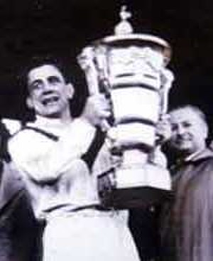 Rugby League World Cup - Captain of the winning British team, Dave Valentine, presented with the trophy at the inaugural World Cup in 1954