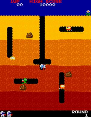 Dig Dug - Screenshot of Round 1