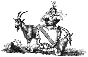 Earl of Portsmouth - Arms of Wallop,  Earls of Portsmouth. The supporters, Two chamois or wild goats sable, are here shown off duty; the crest is: A mermaid holding in the dexter hand a mirror in the other a comb all proper