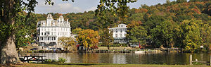 East Haddam, Connecticut - A view of Goodspeed Opera House taken across the river